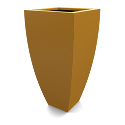 Decorpro - Medium Corby Planter, Spanish Gold - The Corby Planter evolved from a variation on the standard square pots. Although designed as a large outdoor planter, these tall elegant planters also look great indoors. With clean curved lines these modern planters add an impressive statement as commercial  planters or in private residences.