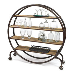 Orbital Bookshelf - Organization makes the world go 'round, but so does great style. Embrace both in this handsome bookshelf made from sturdy wood and rounded iron. Perfectly styled for rustic or industrial tastes, it wheels around for quick changes in busy homes.