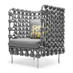 Kenneth Cobonpue - Kenneth Cobonpue Cabaret Lounge Chair - Outdoor - The Cabaret Lounge Chair Outdoor is a chair with fabric tubes woven around a steel frame for an interesting texture and pattern.  The outdoor version is available in three colors: yellow, silver, and pale gray.  An indoor version is available as well.  Price includes shipping to the USA.  Manufactured by Kenneth Cobonpue in the Philippines.