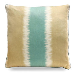 """Thani Ikat Stripe Pillow - Beach - 22"""" - Reminiscent of a cool coastal morning with crystal blue waters and a soft beige sand shoreline, the Thani Ikat Stripe Pillow is decidedly coastal and is an ideal finishing touch to your newly redesigned living room, boudoir or guest bedroom. This lovely accent has an air of relaxation and peacefulness that pull a room together beautifully."""