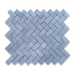 "Stone Center Corp - Carrara Marble Herringbone Mosaic Tile 1 x 2 Honed - Carrara white marble 1"" x 2"" pieces mounted on 12"" x 12"" sturdy mesh tile sheet"