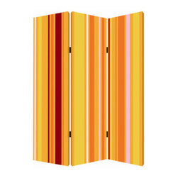 Deep Saffron Screen - The great divide: This richly colored graphic screen artistically sections off portions of your room, so you can keep your work and play areas or public and private worlds apart.