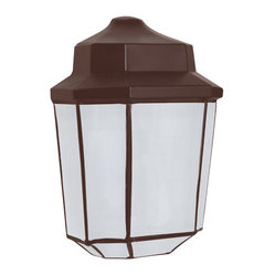 Costaluz 3028 Series Aluminum One-Light Fluorescent Wall Sconce with Bronze Glas