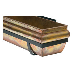 "H Potter - Rustic Copper Window Box, 48"" - This stunning window box allows you and others to admire its intentionally weathered aesthetic. The patina is rich, full of multicolored swirls and patches, while the dark frame serves as a sleek counterbalance."