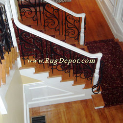 Kane Carpet Red Floral - Kane Carpet - Red Floral Carpet Custom cut into a stair runner, Installation by RugDepot.com