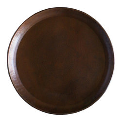 Guava Home - Serving Tray, 100% Solid Copper, Hand Hammered, Dull Natural Finish, Round - Solid Copper. Made from just one piece, no welding and no sharp edges.