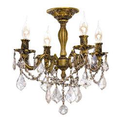 Elegant Lighting - Elegant Lighting 9204F17FG Rosalia 4-Light, -Tier Semi-Flush Crystal Chandelier, - Elegant Lighting 9204F17FG Rosalia 4-Light, -Tier Semi-Flush Crystal Chandelier, Finished in French Gold with Clear CrystalsElegant Lighting 9204F17FG Features: