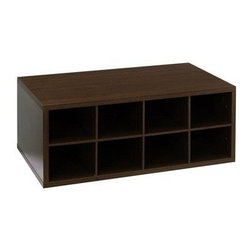 """SCHULTE DISTINCTIVE STORAGE - 7315142428 CHOC DBLHNG CUBBY - DOUBLE HANG O-BOX CUBBY  Use to organize shoes in the closet or for -  storing wine or soda in the kitchen pantry  Dividers create 12 separate storage cubbies  Constructed of 5/8"""" furniture grad Melamine  Installs easily with FreedomRail uprights  Adjusts easily without tools  24"""" wide x 14"""" deep x 9-1/2"""" high      7315142428 CHOC DBLHNG CUBBY    COLOR:Chocolate Pear"""