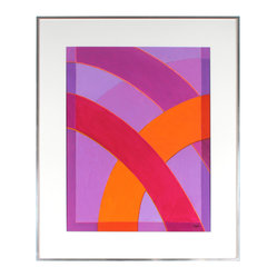 Original Bold Contemporary Acrylic Abstract, Framed - Bold arcs of brilliant color are a hallmark of acclaimed artist and designer Warren Snodgrass (1940-2010). This acrylic on canvas geometric work makes a striking statement in your favorite setting and an important addition to your collection.