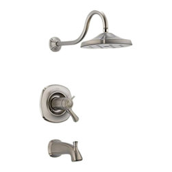 Delta - Delta T17T492-SS Addison TempAssure 17T Series Tub and Shower Trim (Stainless) - The Addison collection offers a dainty, sea-shell inspired design, giving your bathroom a statuesque, enchanting touch to your bath.
