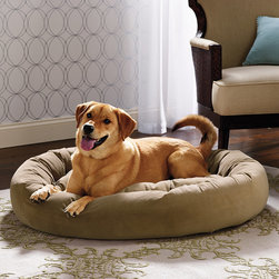 "Frontgate - Ashton Pet Bed Dog Bed - Cushion is tufted to prevent fibers from shifting and clumping. Bolster and cushion both contain high-memory polyester fiber fill for long-lasting comfort and loft. Outer cover is made of breathable Microvelvet that is 8 times stronger than cotton and keeps pets comfortable in all seasons; learn more. Cover is also removable for machine washing and drying. Our Ashton Pet Bed surrounds your dog in dream-inducing comfort. The outer cover is made of breathable microvelvet, which repels pet hair, dirt, and moisture. This cozy dog bed is recommended for ""curlers"" – dogs who like to be fully enclosed by their beds. . . . ."