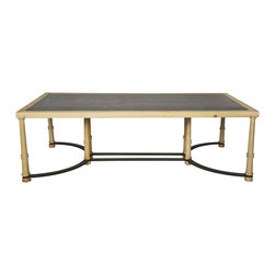 Kathy Kuo Home - Giles Industrial Loft Slate Stone Wood Coffee Table - * 18.5 inches high x 60 inches wide x 30 inches deep