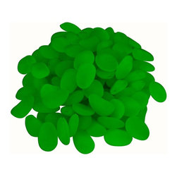 Trademark Global - Glow in The Dark Pebbles - 500 ct.. Flat marble size. Edge a flower bed or fill a planter with these unique acrylic pebbles. Made from poly resin. Weight: 2.85 lbs.Glow-in-the-dark pebbles mark a path or highlight a flower bed! After being exposed to daylight, these pebbles glow in the dark! Glow lasts approximately two to three hours after full sun exposure.