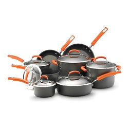 """Rachael Ray - Hard Anodized II 14-Piece Cookware Set - This 14-pc collection is functional, durable and stylish. A great starter set for new homeowners. Included are an 6-quart stock pot, 1, 2 and 3 quart covered sauce pans, a 10"""" skillet, a 3-quart covered saute, a 4-quart covered saucepot, and a 8.5"""" skillet; each with a tempered glass lid. The transparent glass lids with stainless steel rims help lock in the flavor of the dish. These lids also let you monitor the food while it's cooking. This dishwasher-safe cookware set has a non-stick coating that prevents any food from sticking to the surface, allowing for easy cleanup. The flared rims ensure you dont spill the food while transferring into another pan Features: -A nonstick interior lets foods slide out of the pan easily.-Hard-Anodized construction for durability and even heating.-Grippy silicone covered stainless steel handles handles are comfortable in your hand and oven safe to 400 degrees.-Stay cool handle and tempered glass cover.-Set includes: 1 & 2 quart covered saucepan, 3 & 4-quart covered saucepot, 6-quart covered stockpot, 8.5'' skillet, 10'' skillet and a 3-quart covered saute.-Collection: Hard Anodized II.-Distressed: No.Dimensions: -Overall Product Weight: 22.66 lbs.Warranty: -Manufacturer provides 1 year parts and labor warranty."""