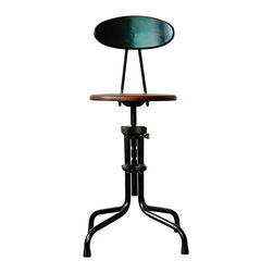 """Nuevo Living - V19R-B Dining Stool with Backrest and Sepele Wood Seat by Nuevo - HGDA140 - The V19R-B Dining stool with Sepele wood seat and metal backrest is a perfect example of modern industrial design. Also available in a weathered oak version. The seat height is adjustable from 20.5"""" to 25""""."""
