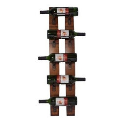 2 Day Designs Reclaimed 5-Bottle Wall Mounted Wine Rack - Add rustic style with a contemporary edge to your home with the 5-Bottle Wine Rack by 2-Day Designs. This unique hanging wine rack is made from oak wine barrel staves and gently arches away from the wall. Iron racks hold up to five wine bottles and the lovely rustic pine finish adds a gorgeous element. Dimensions: 8W x 5D x 35H inches.About 2-Day Designs Inc.2-Day Designs Inc. is a proud manufacturer of unique home furnishings. For those looking for a little something different browse the company's collections and you will certainly find it with designs that will make a statement in any room of your home. From dining tables and chairs to occasional tables and from hutches and cupboards to keepsake boxes and trunks you are sure to fall in love with something from the 2-Day Designs collections. Environmentally conscious 2-Day Designs uses recycled antique lumber whenever possible. All 2-Day Designs pieces are crafted with the highest quality standards from start to finish.