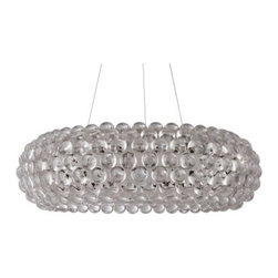 Halo Acrylic Crystal Chandelier - 19.5W in. Clear - Right-sized to shed ample light and make a dramatic design impact, the Halo Acrylic Crystal Chandelier - 19.5W in. Clear is a beauty. This pendant light features a clear acrylic crystal circle accented by 3D bubbles suspended from a slim yet sturdy wire base.About East End ImportsEast End Imports is based in New York City. They design and manufacture modern furniture and lighting that has an elegant, exciting, look that doesn't go out of style. East End Imports offers high-quality, innovative furniture at an affordable price. Their seating options, lounge furniture, and lighting are just right for the modern office, home bar, outdoor living space, or contemporary home. Quality construction and superb design make each piece a style statement of which you'll never tire.