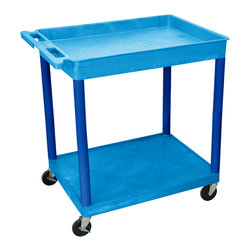 """Luxor - Luxor Tub Cart - BUTC12BU - These Luxor TC series utility carts are made of high density polyethylene structural foam molded plastic shelves and legs that won't stain, scratch, dent or rust. Features a retaining lip around the back and sides of flat shelves. Includes four heavy duty 4"""" casters, two with brake. Has a push handle molded into the top shelf."""