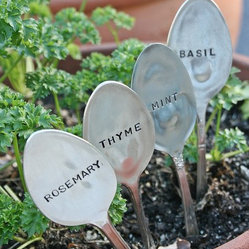 Basil Mint Rosemary Thyme Silverware Garden Marker Set By Beach House Living
