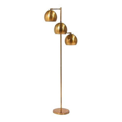 Used Koch & Lowy Vintage Brass Floor Lamp - This vintage Mid-Century Koch & Lowy brass floor lamp is a total babe! Circa USA 1960s. This floor lamp is made of solid brass and is in excellent vintage condition. The diagonally oriented shades will make a graphic statement wherever this lamp is placed!