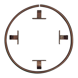 """Antique Drapery Rod - Lit d' Ange Ceiling Ring, Italian Walnut, 42"""" Diameter - Includes ceiling brackets for mounting"""