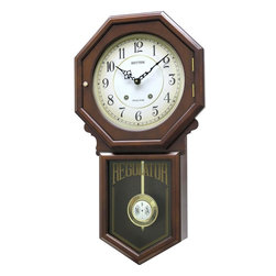 RHYTHM - Colonial Wooden Musical Clock - The Colonial is crafted in a beautiful walnut finish