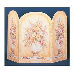 "Stupell Industries - Yellow and White Vase 3 Panel Decorative Fireplace Screen - Decorative and functional. Made in USA. Original Stupell art. 44 in. W x 31 in. H (Approx.). 0.5 in. ThickA fireplace screen from ""The Stupell Home decor Collection"" will be the focal point of any room and the beautiful color and design will immediately enhance your hearth and it's surroundings. Both functional and decorative, this one of kind screen will keep your fireplace out of sight when it's not in use. This piece is handcrafted from original artwork by English muralist Julie Perren. A lithograph is laminated on sturdy 1/2'' thick mdf fiberboard and the sides are hand painted. The item is already assembled in the box and ready to be put in front of the fireplace. Made in USA."