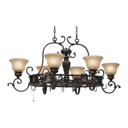 Golden Lighting - Jefferson 8-Light Pot Rack - This chandelier with old-world charm has an enlightened purpose. While the glow of lights illuminates your kitchen, the bronze pot rack provides easy access to your cookware and utensils.