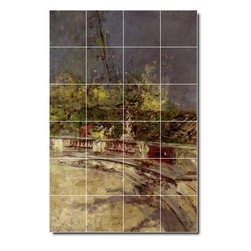 Picture-Tiles, LLC - The Red Umbrella Tile Mural By Giovanni Boldini - * MURAL SIZE: 48x32 inch tile mural using (24) 8x8 ceramic tiles-satin finish.