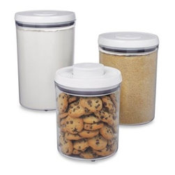 Oxo - OXO Good Grips 3-Piece POP Canister Set - OXO Good Grips 3-Piece POP Canisters combine the airtight seal of POP Containers and the accessibility of countertop-friendly canisters. POP Canister Set gives new shape to kitchen storage.