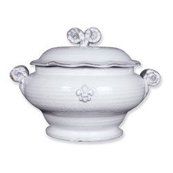 Abigails - Fleur de Lis Soup Tureen - The hand of the artisan is apparent and adds to the appeal of this stately piece.  It serves both as a centerpiece and a serving piece for most any type of soup.  Made in Italy.  Microwave & Oven Safe.