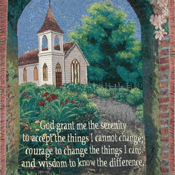 Manual - Serenity Prayer Inspirational Tapestry Throw Blanket 50 Inch x 60 Inch - This multicolored woven tapestry throw blanket is a wonderful addition to any home. Made of cotton, the blanket measures 46 inches wide, 60 inches long, and has approximately 1 1/2 inches of fringe around the border. The blanket features a country church print, with the words to The Serenity Prayer printed in the top center. Care instructions are to machine wash in cold water on a delicate cycle, tumble dry on low heat, wash with dark colors separately, and do not bleach. This comfy blanket makes a great gift for friends and family.
