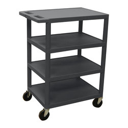 Luxor - Luxor Transport Cart - BC45-B - Luxor's BC's series utility carts are multi-tiered, lightweight carts made for every type of environment. It is constructed from high density polyethylene structural foam molded plastic shelves.