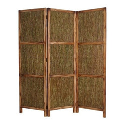 EVERGREEN SCREEN - Banish messes behind this simple screen. With a wooden frame in a rubbed brown finish and panels of knotted fern, this screen embodies green-living principles. Also a vital piece for those who want to achieve feng shui, this screen can bring harmony and balance to your living space.