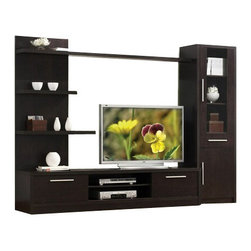 "Acme - 3-Piece Espresso Finish Wood Modern Styling TV Entertainment Center Wall Unit - 3-Piece espresso finish wood modern styling TV entertainment center wall unit. This unit comes with one wall shelf and top shelf on the left, one TV stand with 2 doors, and one side cabinet on the left. Measures 110"" wide x 71"" H x 19"" D. Some assembly required."