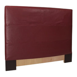 Howard Elliott - Avanti Twin Slipcovered Headboard - The Slip covered Headboard is constructed with a sturdy wood frame that is padded for maximum comfort, making it solid yet cozy. This piece features a apple burgundy faux leather cover.