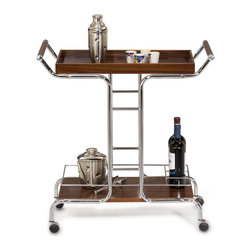 KD Furnishings - Cappuccino and Chrome Wine Serving Cart - Serve fellow wine lovers in style with this smart serving cart featuring a pleasing contrast of cool chrome and warm wood. Fitted with casters for mobility,the handsome trolley cart includes a removable top tray and a trio of bottle collars.