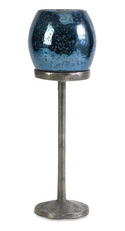 iMax - iMax Ocean Blue Large Candlestick Votive X-22202 - This large ocean blue candlestick has an ultra classic mercury glass votive resting on a textured aluminum stand. Looks great with coordinating candleholders for any season!