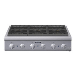 "Thermador Professional Rangetop PCG366G - 36"" Pro-Style Gas Rangetop with 6 Pedestal Star Burners, Metal Knobs, Precision Simmering and Island Trim"