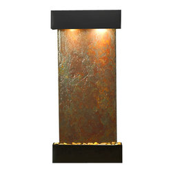 Adagio Water Features - Cascade Springs Wall Fountain, Blackened Copper, Rajah Slate, Square Frame - Comes complete with polished river rock, halogen lighting, and electric pump.