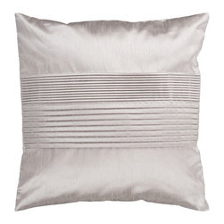 Surya Rugs - Taupe 22 x 22 Pleated Pillow - Simple yet stylish. This pillow is a mixture of a solid and striped design. The color silver accents this decorative pillow. This pillow contains a poly fill and a zipper closure. Add this 22 x 22 pillow to your collection today.  - Includes one poly-fiber filled insert and one pillow cover.   - Pillow cover material: 100% Polyester Surya Rugs - HH015-2222P