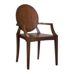 Kathy Kuo Home - Baudin French Rustic Lodge Modern Mahogany Wood Dining Arm Chair - Simply elegant, this French Country armchair takes Old World architecture and adds a sleek, modern finish. The result is a mahogany chair that makes itself at home in a library, living room or bedroom. The low arms and round back even elevate sitting at a desk to a more enjoyable experience.