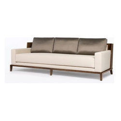 EcoFirstArt - Aspre Sofa - It may look retro but this ultrachic sofa is timeless. Featuring clean lines, plush cushions, a curved wood back and neutral tones, this Mad Men-era sofa is sexy and sleek. Anyone care for a martini?