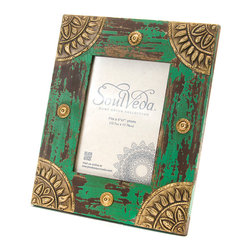 "Everybody's Ayurveda - Aged Photo Frame with Medallion In Sage Green - Distressed Green Frame with Gold Accents. Made in India. Fits 5"" x 7"" photo. 9"" Wide x 11"" Tall. Hand painted with distressed sage green finish."