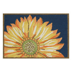 """Trans-Ocean - Sunflower Navy Rugs 1417/33 - 20""""X30"""" - Richly blended colors add vitality and sophistication to playful novelty designs.Lightweight loosely tufted Indoor Outdoor rugs made of synthetic materials in China and UV stabilized to resist fading.These whimsical rugs are sure to liven up any indoor or outdoor space, and their easy care and durability make them ideal for kitchens, bathrooms, and porches."""