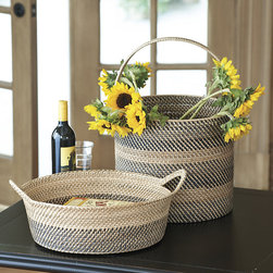 Ballard Designs - Gavin Basket - Expect delightful color variations. Adds instant warmth & texture. These sleekly designed oval and round baskets are beautifully hand woven of split rattan in warm bands of gray, charcoal and natural. The tight weave and sculptural lines give them a sophisticated look that blends with contemporary or traditional decors.Gavin Basket features: . .