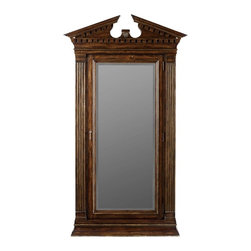 Hooker Furniture - Adagio Floor Mirror - White glove, in-home delivery included!  Grand scale classic design and soft flowing shapes are married with a rich dark finish to give birth to the stunning Adagio collection.  Jewelry storage inside, felt interior with ring holders, twenty hooks and forty eight jewelry pouches.