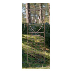 Fifthroom - Wrought Iron Bells-A-Ringing Trellis - Do you love those 2-for-1 deals?  Well, doesn�t everyone?  With our Wrought Iron Bells-A-Ringing Trellis you can get the gentle and sweet ringings of a wind chime from the three attached bells, as well as a fine place for your vertically vining plants and flowers!  Flood all of your senses with beauty; see your gorgeous blooms, listen to the softly ringing bells, reach out to touch the variety of textures featured in your plants, lean down to smell the budding flowers, and then� well� pour yourself a glass of iced tea!