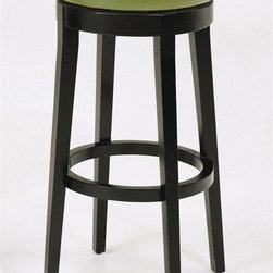 Armen Living - Upholstered Backless Barstool in Wasabi - 360 degree swivel barstool. Fully padded seat. Leather upholstered. Wooden legs. 16 in. Dia. x 30 in. H (18 lbs.)Save time and space at the same time with beautifully versatile barstools in classically cool and utterly refreshing designs.