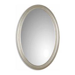 Uttermost - Franklin Oval Silver Mirror - This look is clearly fairest of them all! A simple oval mirror in an antique silver leaf frame makes an elegant statement in your entry, living room or bedroom.